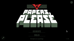 "Titelbildschirm von ""Papers, Please""."